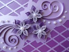 Handmade Quilling Card with 3D Paper Flowers in por TipTopArtShop