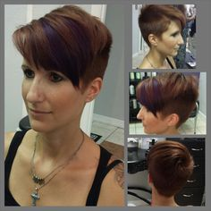 Pixie undercut hair haircut caramel brown brunette with purple peekaboo highlights.