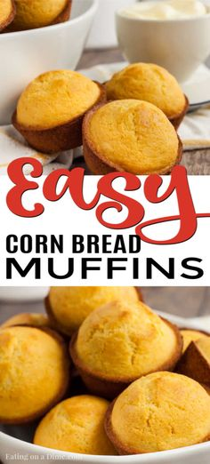 Cornbread Muffins - Easy Cornbread Muffin Recipe - - Cornbread Muffins are just so easy to make and much better than those store bought mixes. This cornbread muffin recipe is delicious and a family favorite. Buttery Cornbread Recipe, Sweet Cornbread Muffins, Honey Cornbread, Homemade Cornbread, Cornmeal Muffins Recipe, Simple Muffin Recipe, Buttermilk Recipes, Muffin Recipes, Brunch Recipes