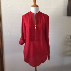 HPMichael Kors blouse Worn once. Perfect condition. Gold zipper and buttons on sleeve. Size XS MICHAEL Michael Kors Tops Blouses
