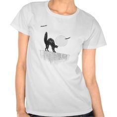 Monochrome Black Cat Full Moon Bat Fence T Shirts