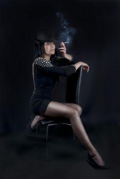 Women with cigarette