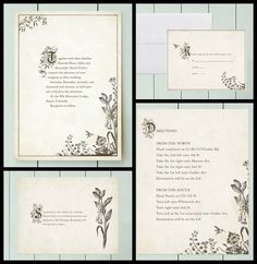 Story book fairy tale wedding invitation suite