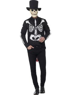 You can buy a Men's Day of the Dead Senor Skeleton Costume from the Halloween Spot. This black costume includes Jacket, Shirt, Tie, Hat & overhead Latex Mask. Halloween Costume Accessories, Toddler Halloween Costumes, Adult Halloween, Halloween Outfits, Adult Costumes, Couple Costumes, Skeleton Fancy Dress, Halloween Fancy Dress, Halloween Party