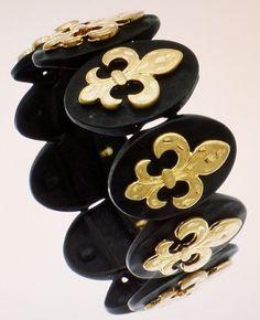 FLEUR DE LIS BLACK AND GOLD  STRETCH BRACELET