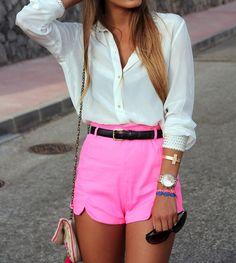 Neon Short w/ White Blouse