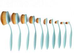 Blue Professional 10 PC Makeup Soft Oval Foundation Contour Cream Brush Set