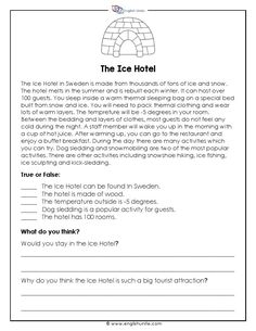 Short Story - The Ice Hotel: This short story is designed for an upper beginner reader. It has a short reading passage followed by true or false questions and two short written questions. The story is about the Ice Hotel in Sweden. #ESL #shortstory #reading #worksheets