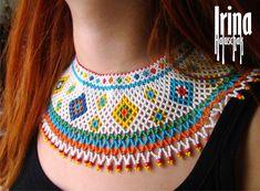 Hand-made by Irina Haluschak Beaded Collar, Beaded Choker, Collar Necklace, Beaded Earrings, Seed Bead Necklace, Seed Bead Jewelry, Beaded Jewelry, Bugle Beads, Seed Beads
