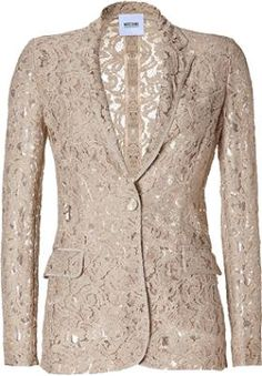 Shop for Beige Lace Blazer by Moschino Cheap & Chic at ShopStyle. Lace Blazer, Pink Beige, Luxury Fashion, Womens Fashion, Mode Outfits, Mode Style, Jacket Style, Passion For Fashion, Moschino