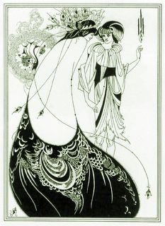 Madame Gabrielle Réjane was the stage name of Gabrielle-Charlotte Reju, (6/5/1856 – 6/14/1920) - Illustration by Aubrey Vincent Beardsley (21 August 1872 – 16 March 1898)