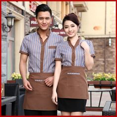 uniform color on sale at reasonable prices, buy Cafe Uniforms Summer Hotel Restaurant Catering Short Sleeved Overalls Restaurant Waitress Uniforms Hotel Reception Uniform from mobile site on Aliexpress Now! Cafe Uniform, Waiter Uniform, Hotel Uniform, Staff Uniforms, Work Uniforms, Waitress Apron, Hotel Reception, Apron Designs, African Fashion