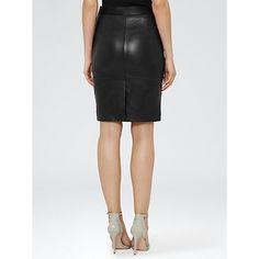 Buy Reiss Leather Pencil Tami Skirt, Black Online at johnlewis.com