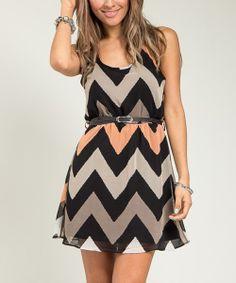 Beige & Cream Zigzag Racerback Dress   Daily deals for moms, babies and kids