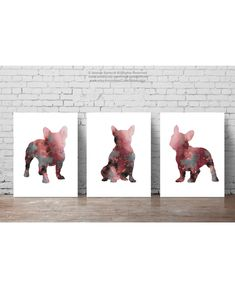 Pink Frenchie Set of 3, Abstract Dog Art Print, Kids Wall Decor, French Bulldog Painting, Girls Nursery Poster by ColorWatercolor on Etsy