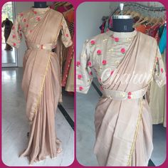 facebook.com/CharviCollection/ Saree Blouse Patterns, Fancy Blouse Designs, Designer Blouse Patterns, Saree Styles, Blouse Styles, Raw Silk Lehenga, Designer Sarees Wedding, Stylish Blouse Design, Women's Fashion Dresses