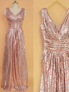 Sequin Bridesmaid Dress Rose Gold/ Long Sequins Prom Dresses/ Floor Length Bridesmaid dresses, Sequin Evening Dress by StarCustomDress on Etsy https://www.etsy.com/listing/260736103/sequin-bridesmaid-dress-rose-gold-long