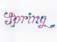 Spring Typography by Jeanie Chong made from several bits of folded paper and paper flowers Flower Typography, Graphic Design Typography, Graphic Art, Pretty Qoutes, Uses Of Paper, Bts You Never Walk Alone, Paper Art, Paper Crafts, Little Flowers