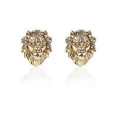 b120e232c Gold tone lion head stud earrings - earrings - jewelry - women Golden  Lions, Clothes