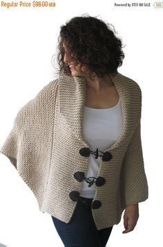 WINTER SALE 20% Plus Size Hand Knitted Ecru Poncho with Leather Rope by Afra
