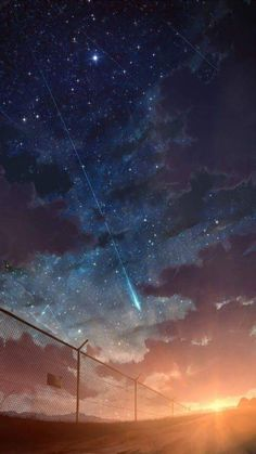 Starfall in the sunset Anime Backgrounds Wallpapers, Anime Scenery Wallpaper, Sunset Wallpaper, Landscape Wallpaper, Pretty Wallpapers, Galaxy Wallpaper, Animes Wallpapers, Cool Wallpapers For Ipad, Night Sky Wallpaper