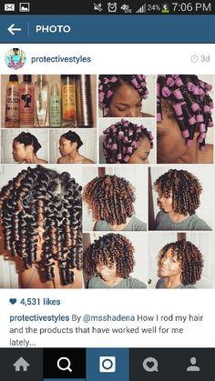 Perm rod set on natural hair