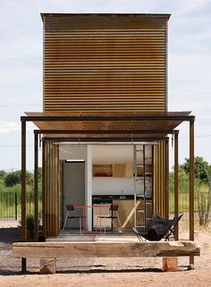 marfa/candid rogers architect / tiny home / rustic modern / The Green Life Architecture Design, Container Architecture, Residential Architecture, Mini Loft, Casas Containers, Micro House, Small Buildings, Tiny Spaces, Little Houses
