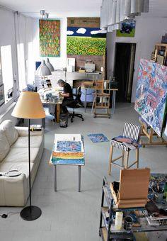 Edward Dwurnik - w mieszkaniu malarza Conference Room, Interior, Table, Furniture, Home Decor, Art, Homemade Home Decor, Indoor, Meeting Rooms