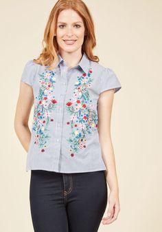 Organized Oasis Button-Up Top | ModCloth    striped fabric with large embroidery designs