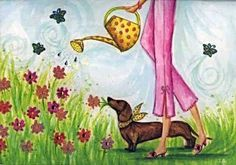Gardening dachshund - illustration by Bella Pilar Arte Dachshund, Funny Dachshund, Dachshund Love, Dachshunds, Daschund, Dachshund Drawing, Cesar Millan, Scottish Terrier, Long Haired Dachshund