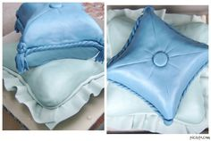 Pillow cakes. Vanilla and chocolate pound cake with buttercream filling, covered in vanilla-almond marshmallow fondant. Details are fondant and gumpaste, board covered in fondant.