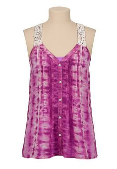Crochet back tie dye chiffon tank (original price, $26) available at #Maurices