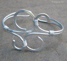 Aluminum Cuff Bracelet, Wire Wrapped Contemporary Design, Flexible for Medium to Large Wrists. $22.00, via Etsy.