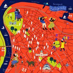 illustrated maps by bianca tschaikner: City map of Belgrade