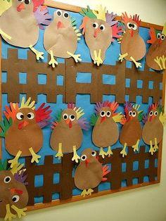 preschool bullentin board ideas - I don't do bulletin boards, but those are some cute turkeys!