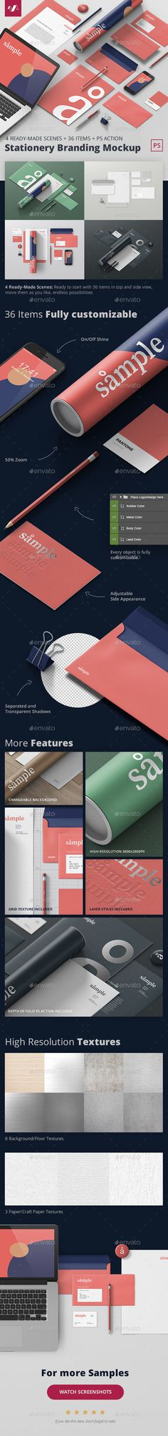 Pre-made PSD scenes including 36 items in top and side view. Easy to use and fully customizable to its tiniest detail. #ad #a4 #mockup #generator #stationery #branding #businesscard #letterhead #envelope #identity #iphone #scene #resume #presentation #realistic #creator #psd #photoshop