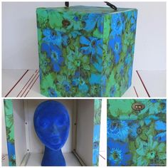 Vintage 60s Square Wig Box Blue & Green Flower Power Spike & Blue Velvet Head