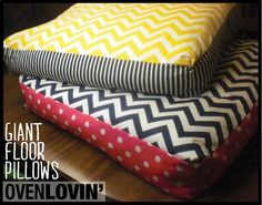DIY Giany floor pillows! These are super easy to make and you can change the fabric and inner material; the size can be adjusted as well!