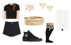 """""""Inspired Outfit DARK PANDA by Hyolyn, Zico, & Paloalto"""" by pumpkinemily ❤ liked on Polyvore featuring Forever 21, BP., Express, Converse and Charlotte Russe"""