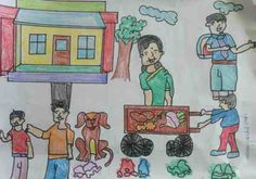 Clean India - RMN Foundation school kids are taught to express their views through various communicative ways such as writing, drawings, and debating.