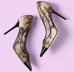 Leather & Lace - Jimmy Choo Leather Pumps, Leather And Lace, Top Shoes, Shoes Heels, Heeled Boots, Shoe Boots, Black Lace Shoes, Studs And Spikes, Lace Art