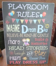 shabby chic Playroom rules sign plaque by VintageSignBoutique Read More at: http://blogshomes.blogspot.com