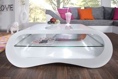 "The stylish coffee table ""MANHATTAN"" in white high gloss optic impresses with its … - Home Decorations Centre Table Design, Center Table, Wood Resin Table, Stylish Coffee Table, Metal Art Projects, Manhattan, Patio Makeover, Table Games, Game Tables"