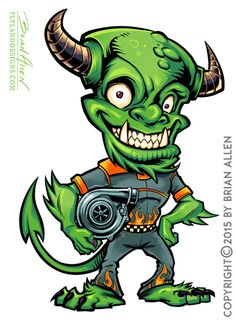 Here is the monster for the G&L Diesel logo I created. They wanted a horned, and mischievious looking creature holding a turbo and zipped into a racing suit.