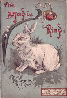 """books0977:  The Magic Ring. Richard André (illustrator). The Society for Promoting Christian Knowledge, London. H.  J.P. Young  Co., New York,1884. """"Sounds of the chase had died away,Far through the somber wood;Alone beside his weary steedA youthful monarch stood."""""""