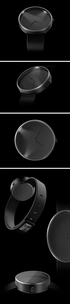 Clock design comes a 'full circle' with the V-Watch. Taking the earliest image of the clock (the sundial) and using it's principle in a watch, the V-Watch is a sundial on your wrist. The watch comes with a flat, empty face that simply has a red elevation in the center. However, powerful point-lights around the rim of the watch light up to show you the time in shadows.