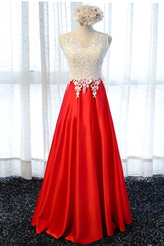 Red satin long lace appliqués prom dress with beading by prom dresses, $164.68 USD