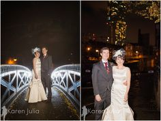 Geeky Rainy Rooms Wedding Photography; bride and groom wedding day night portraits on bride & with Beetham Tower in the background.