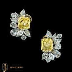 These minimalist #yellowsaphire #diamond studs from http://sehdevjewellers.com/ will add #sparkle to your outfit.