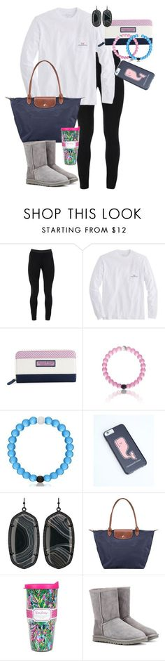 """""""Still preppy in the cold weather :)"""" by mckinley02 ❤ liked on Polyvore featuring Peace of Cloth, Vineyard Vines, Kendra Scott, Longchamp, Lilly Pulitzer and UGG Australia"""